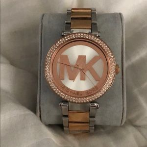 Michael Kors rose gold and silver watch